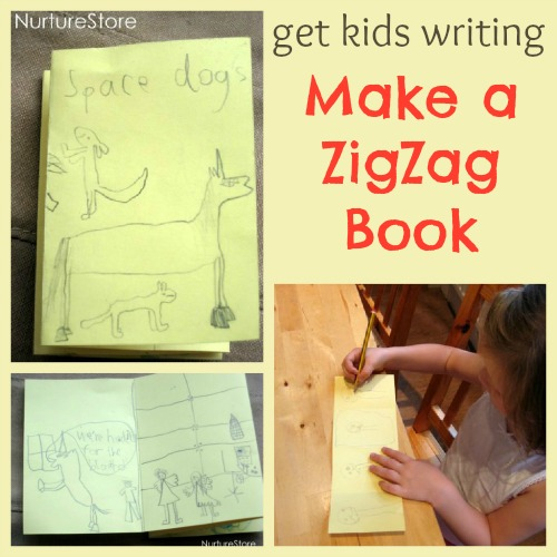 kids writing zigzag book