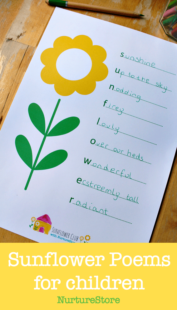 sunflower poems for children printable