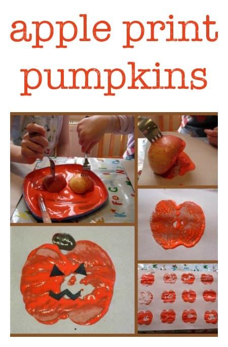 simple halloween craft :: apple print pumpkins