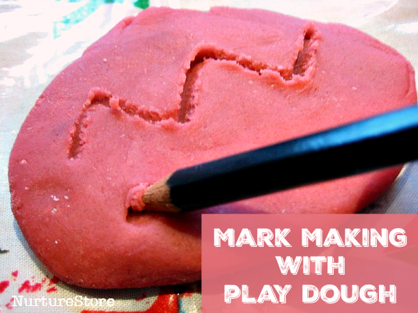 mark making with play dough