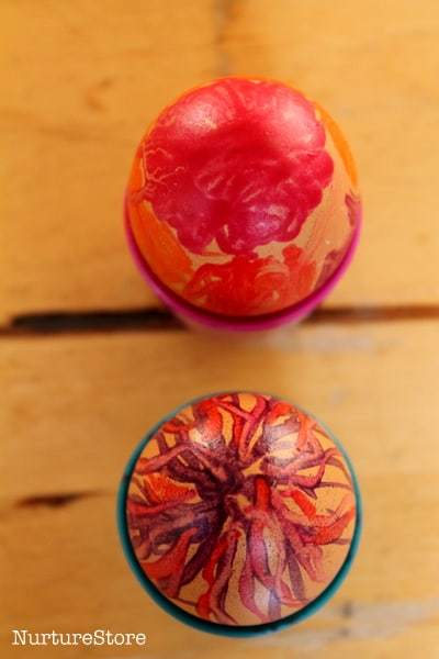 decorating eggs with wax crayons