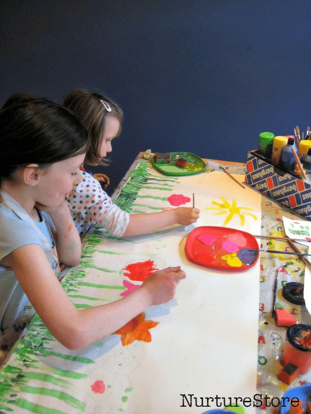 Gorgeous collaborative project - spring flower craft painting