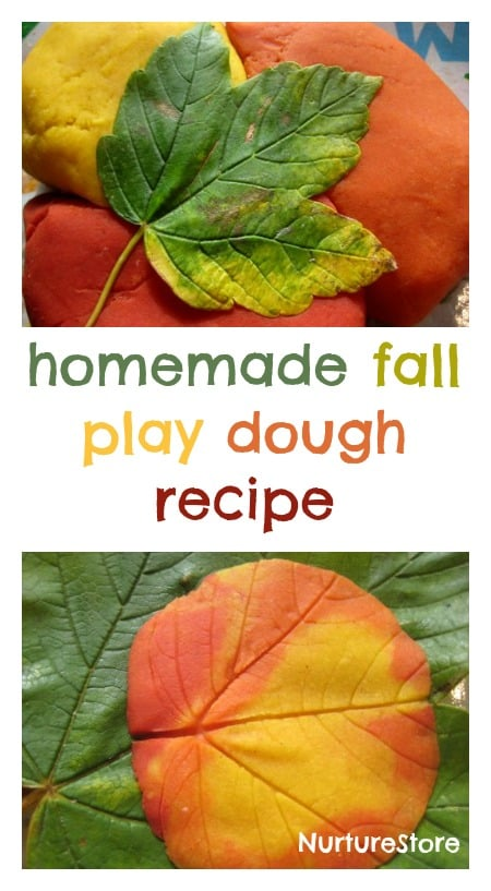 a great homemade play dough recipe and lovely play idea for fall
