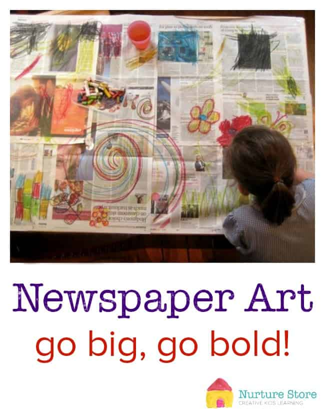 Great, simple, kids art project using newspaper