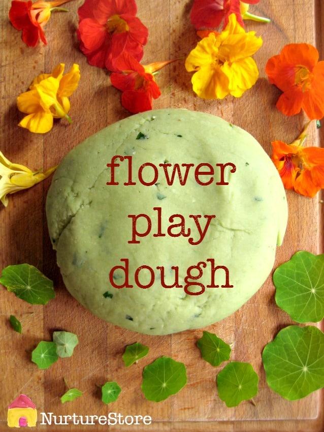 Flower play dough recipe for summer sensory play