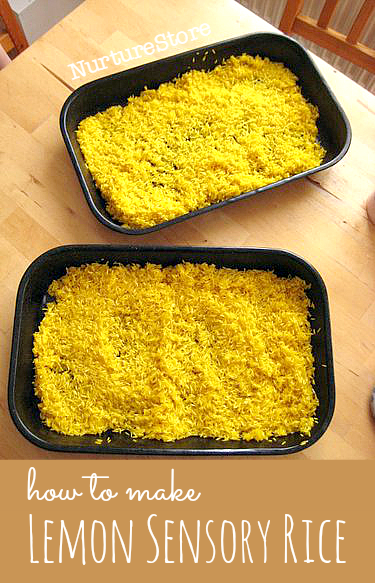 how to make lemon scented rice for a lemon sensory tub