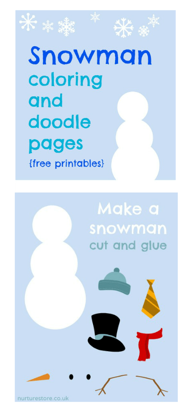Free snowman printables and snowman coloring pages
