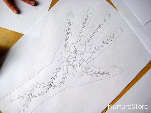 Mehndi Drawing Photos : Mehndi gold pen drawing graphics creative market