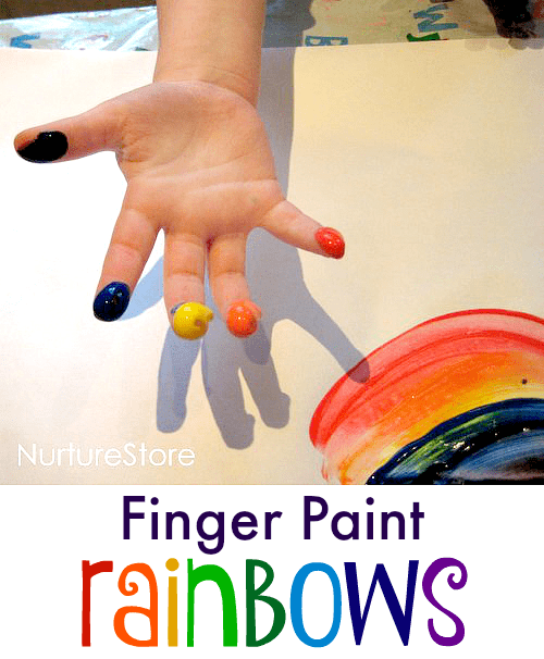 Finger paint rainbow craft for toddlers and preschool