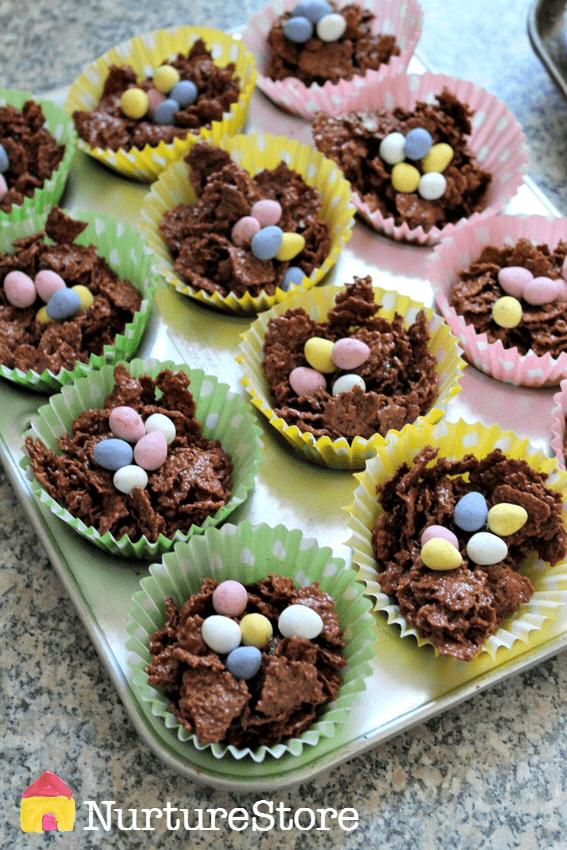 Easter nest cakes recipe :: crispy cakes recipe :: Easter cakes