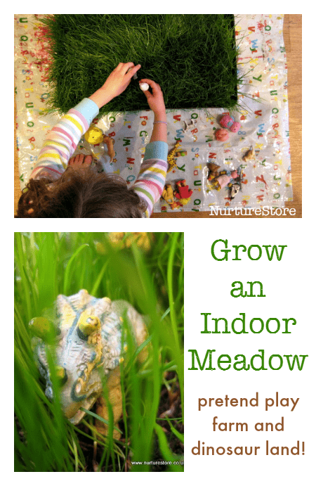 earth day activities - grow an indoor meadow for pretend play farm and dinosaur land