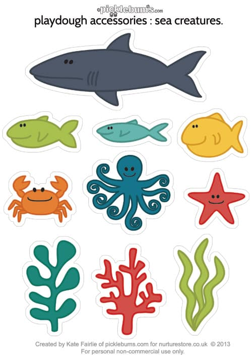 Printable sea creatures for ocean play dough - NurtureStore