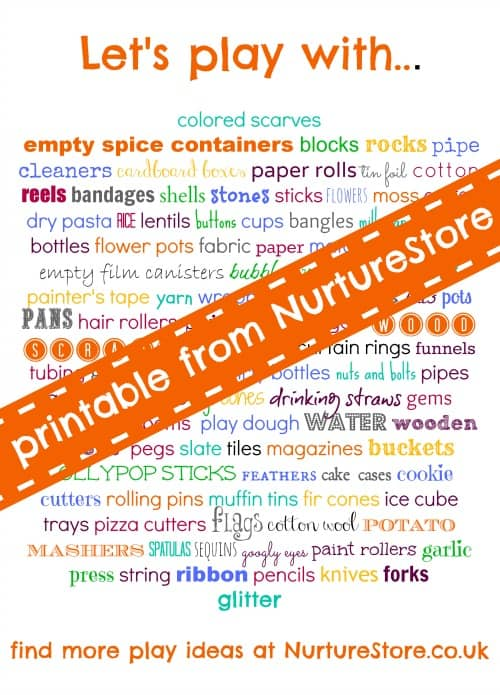A great printable list of loose parts to encourage creative free play