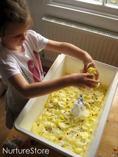 rose petal sensory play tub
