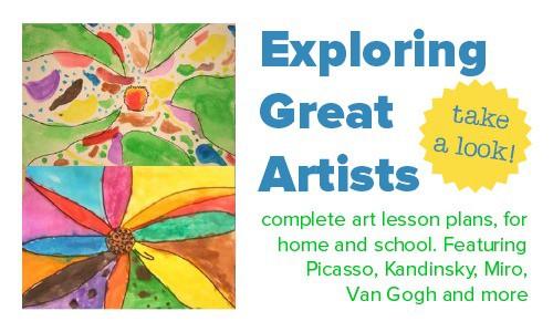 Complete art lesson plans, exploring great artists
