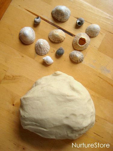 playdough and shells