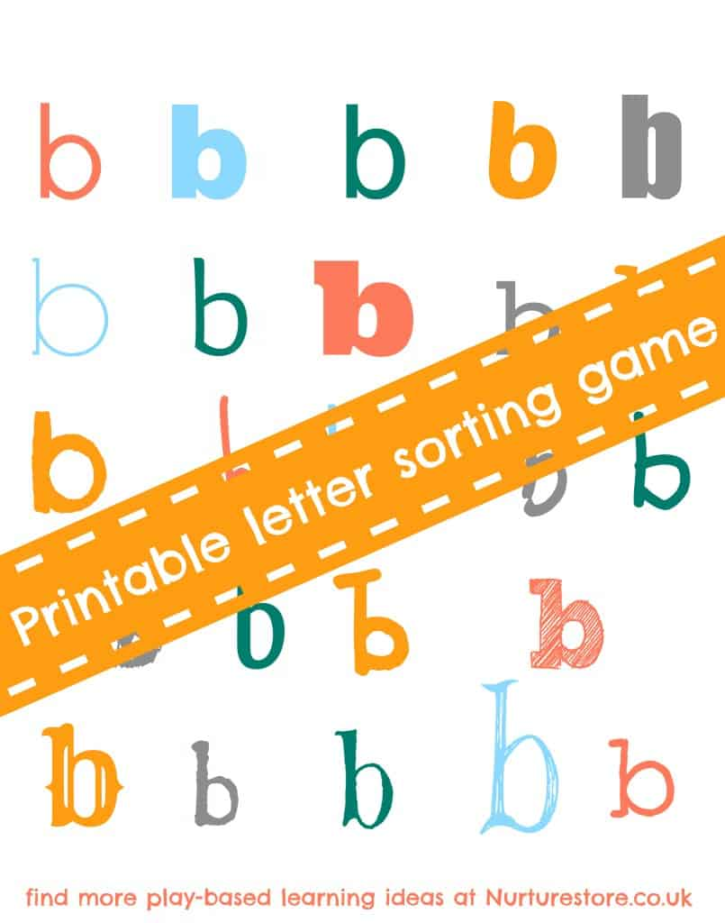 printable alphabet sorting game for letters b, d and p