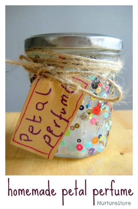 A lovely garden sensory play idea - make some homemade petal perfume
