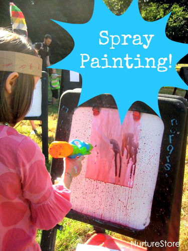 Outdoor art projects spray painting nurturestore for Best paint for outdoor crafts