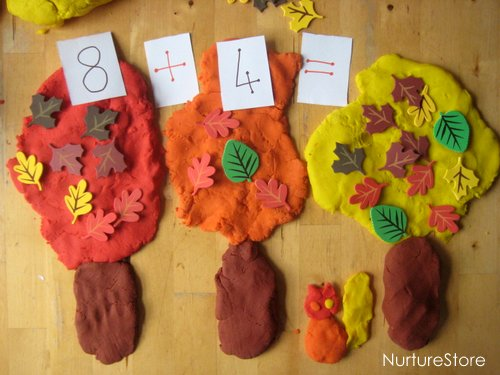 fall play dough math games