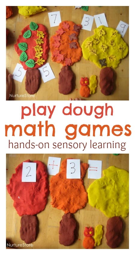 Great ideas for hands-on, sensory learning: fall play dough math games