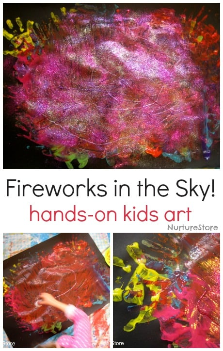Gorgeous, hands-on kids painting: making fireworks in the sky!