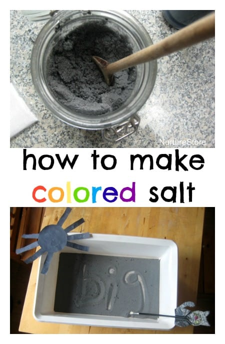 how to make colored salt - great for sensory play