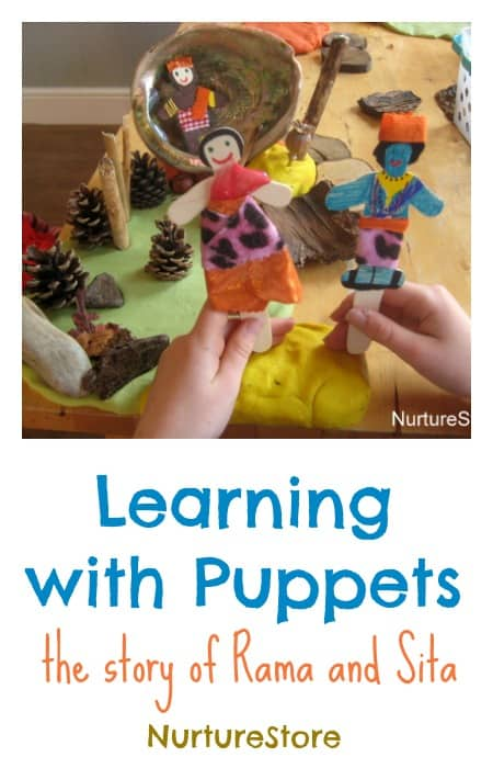 How to bring stories and learning to life with puppets {re-telling the story Rama and Sita as a Diwali activity}