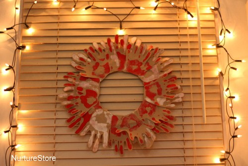 hand print Christmas wreath decoration