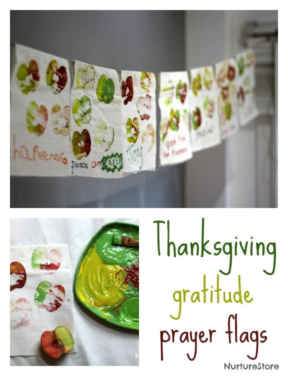 Gratitude prayer flags - a wonderful Thanksgiving craft for kids