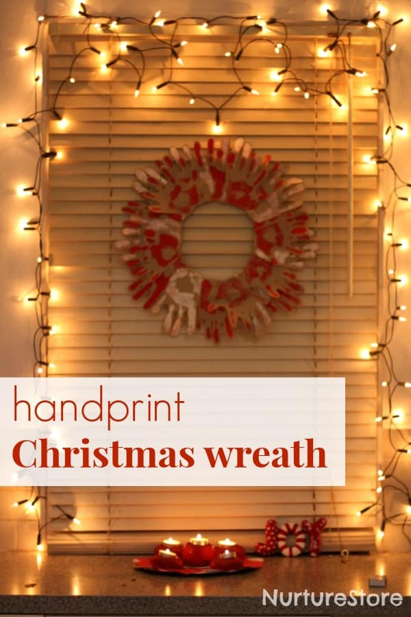 Easy to make and beautiful: handprint Christmas wreath