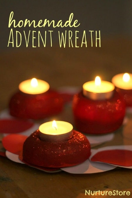 A beautiful Christmas craft: a homemade Advent wreath, for a candle-lit countdown to Christmas.