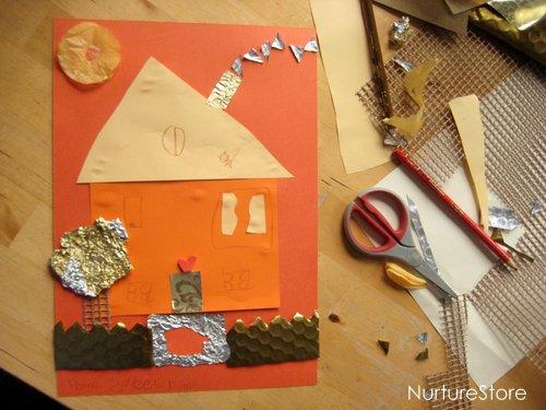 house collage kids art glue