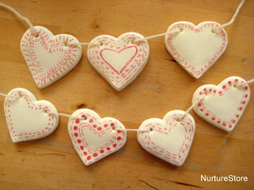 diy clay recipe heart bunting