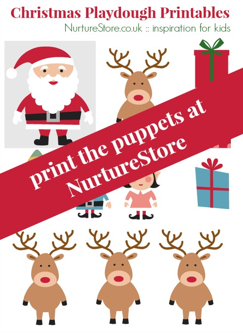 Father Christmas puppet printables - a free download and perfect for pplay dough and storytelling