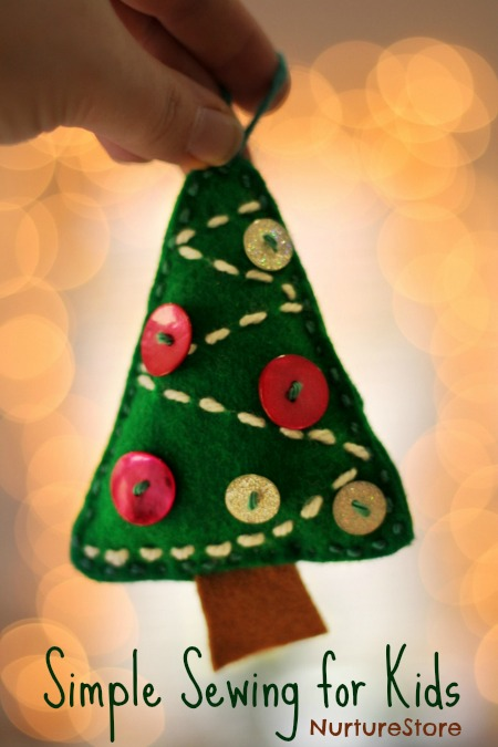 simple sewing for kids Christmas ornament
