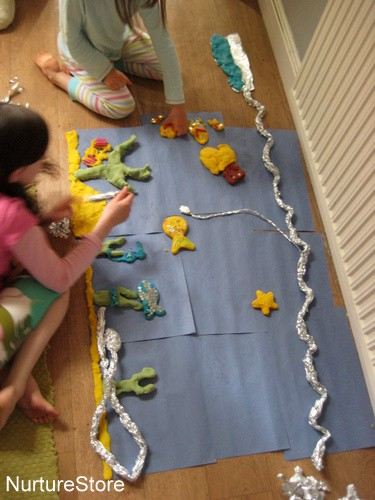 roll of paper project play dough mural