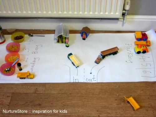 big roll of paper imaginary play scene