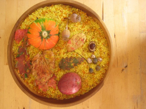 autumn sensory tub