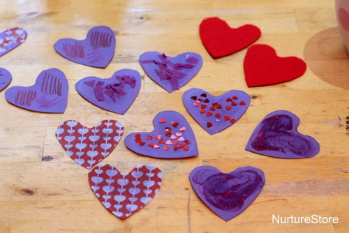 heart matching game for preschooolers