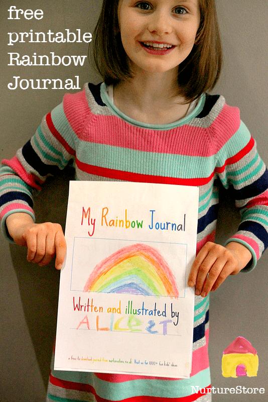 free printable journal for kids rainbow
