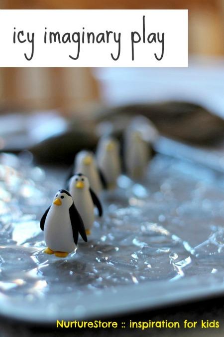Fun Antarctic theme penguin pretend play with ice