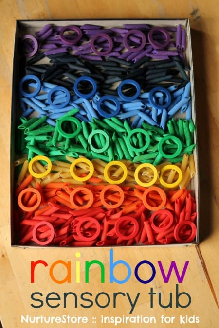 rainbow sensory tub toddlers preschool
