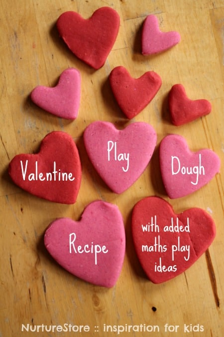 Reall easy, no cook Valentine play dough recipe {plus maths play ideas}