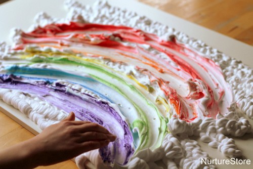 shaving foam sensory play rainbow themed
