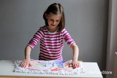 rainbow art sensory play shaving foam