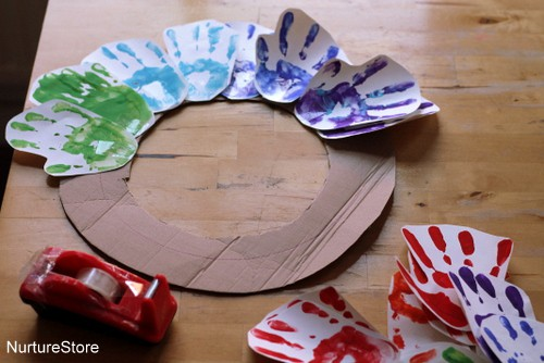rainbow handprint wreath craft