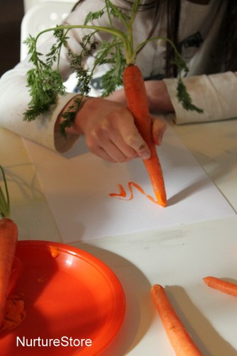 easter art with carrots