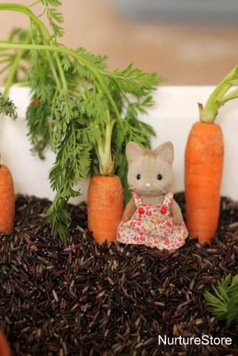 spring sensory play pretend rabbits