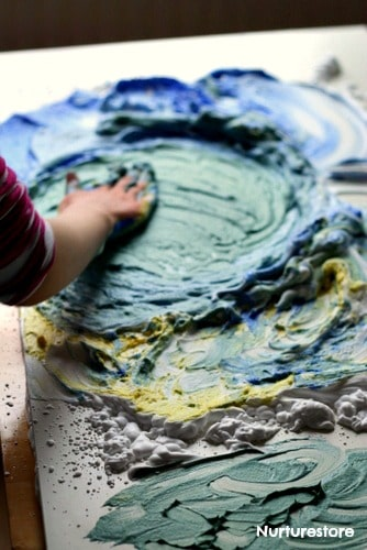 color mixing sensory play shaving foam